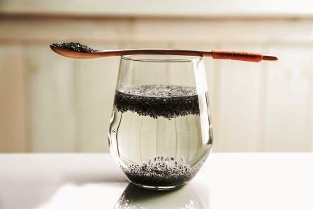 lzicka, pohar vody a chia semena na stole