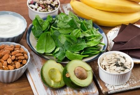 hořčík, magnézium, avokádo, banán, mandle