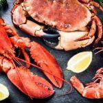 mořské plody, krab, lobstr, kreveta na kameni