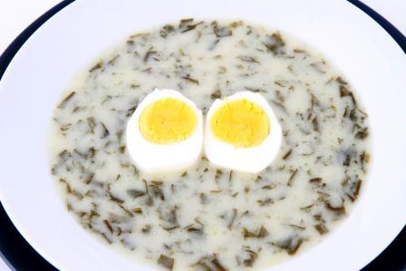 šťovíkový prívarek s vajíčkem