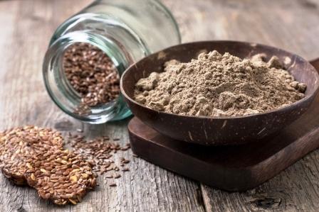 lnený protein v lnená semínka v misce