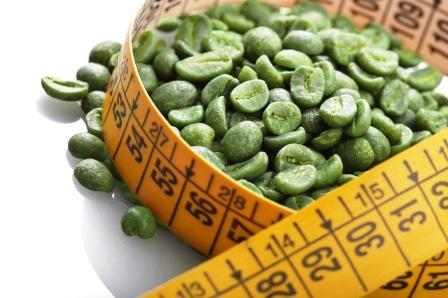 zelené kávové zrna s metrem