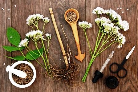 kozlik korenová bylina a kvety s tinkturou flaskou
