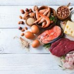 potraviny s obsahom bielkovin - maso, losos, syr, mlieko, fazula, vajce
